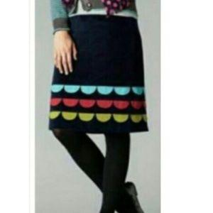 Boden 14 Large Velvet Scalloped Navy Skirt Knee